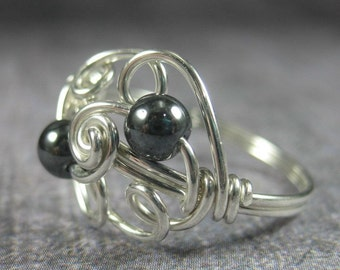 Wire Wrapped Ring Sterling Silver and Hematite Cloud 9