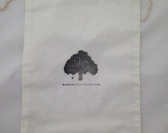Add Gift Wrap Large 100% Cotton Hand Stamped Drawstring Gift Bag