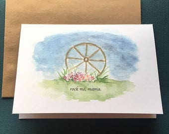 Watercolor Wagon Wheel Valentine's Day Card for Her