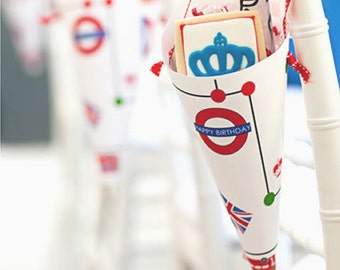 British Party Cones - PRINT & SHIPPED or DIGITAL
