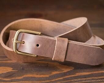 "Custom sized belt - 1.25"" width - Horween Chromexcel leather - heel bar buckle - natural chromexcel"