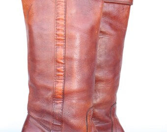 Beautiful vintage Black Tag Frye cuffed boho leather campus riding boots 7.5 B