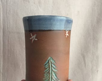 Blue Pine Tree and White Stars Tumbler