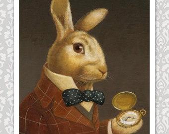 Rabbit Portrait Print, Rabbit Art, Animal Portrait, Victorian Rabbit, White Rabbit, Gothic Rabbit, Alice in Wonderland, Rabbit Lover Gift
