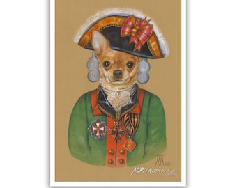 Chihuahua Art Print / The Brave Officer / Dog Lover Gifts & Wall Art / Dog Portraits by Animal Century