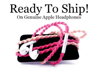 READY To SHIP FAST! Apple Earphones | Pink Wrapped Tangle Resistant Headphones | Christmas Gift For Mom, Girl, Teen | Genuine Apple Earpods