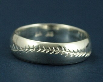America's Pastime--6mm Wide--Sterling Silver--Baseball Ring--Hand Cut Baseball Pattern--Hand Made Ring--Men's Wedding Band