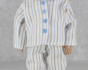 10 inch Doll, Willow's Way Boy, Stripes Flannel Pajamas