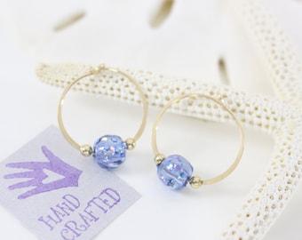 Gold filled hoop earrings Glass glitter beads endless round handmade blue purple