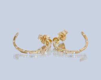 Diamond Earrings, 18k Gold, 14k Gold, Gypsy Earrings