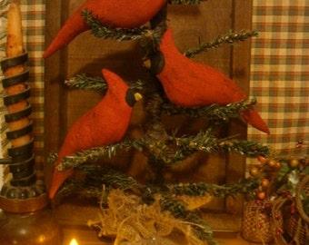Primitive Cardinals Set of 5 ornies/tucks