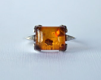 Rustic Amber Sterling Silver Ring Vintage 70s 1970s Rare Unique Earth Orange Red Gemstone Precious Hippie Gift Present Girlfriend Love