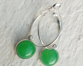 Silver plated hoops with jade cabochons - adjustable
