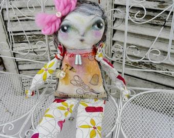 Sewing painted doll - folk art prim primitive dolly create studio stitching