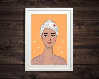 Tattooed Woman Portrait Yellow Orange - Illustrated Art Print by Emmeline Pidgen Illustration