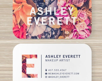 Floral business card florist flower pattern vistaprint 35 floral business card flowers makeup artist vistaprint 35 x 2 colorful reheart Gallery