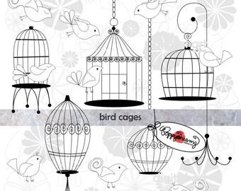 Bird Cages: Clip Art Pack (300 dpi transparent png) Wedding Baby Bridal Shower Clipart Digital Black White & Gray Elements