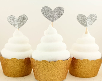 Silver Glitter Heart Cupcake Toppers - Set of 12