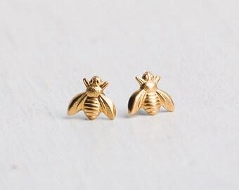 Little Gold Bee Earrings, Bee Earrings, Gold Bee Jewelry, Silver Bee Earrings, Honeybee, Woodland Wedding, Garden Wedding, Gold Bees