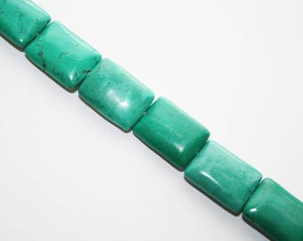 Turquoise Pillow Bead, Rectangle Bead, Necklace Beads - 22 Beads- 16x11 - #D202