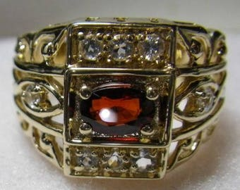 6 TANZANITES 2 DIAMOND Accents with a 6X4MM MOZAMBIQUE Garnet Gold Ring Size 8