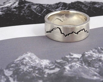 Custom Modern Mountain Ring, 8mm band, Handmade with your choice of Recycled Sterling Silver, Gold, Palladium or platinum