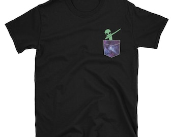 Funny Space Alien Dabbing in Your Pocket T shirt