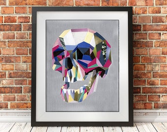 Skull wall art, Skull poster, Skull print, Skull painting, Bohemian decor, Skull decor, Mixed media, geometric art