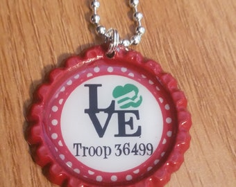 Girl Scouts Personalized ANY NAME bottle cap necklace - * Free Chain* Daisy Brownies Junior Cadette