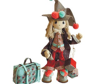 """Doll Making Kit, Set for sewing doll, Textile doll """"Joker"""", Set for textile doll, Handmade doll, Sewing kit, FREE SHIPPING"""
