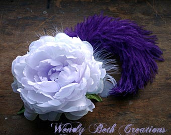 Violetta Hair Clip Fascinator - Renaissance Festival, Wedding, Belly Dance, Tribal Fusion, Hair Garden, Burlesque, Steampunk, Purple, Peony