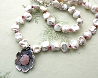 Rose Quartz Silver Flower and Keishi Pearl Choker Necklace  Freshwater Pearl Boho Fashion Necklace