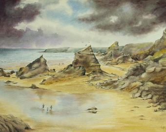Original mixed media painting of Bedruthan steps, Cornwall. Unframed.
