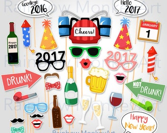 New Years Party Printable Photo Booth Props - New Years Eve Party Photobooth Props - New Years Photo Booth Props - Digital Download