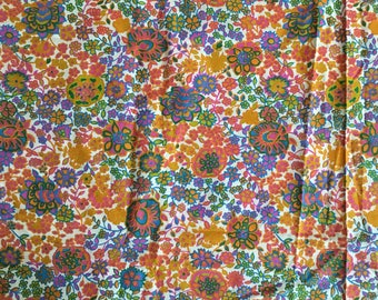 """Vintage 1970s Bright Colors Floral Print Cotton Fabric Remnant for Crafting 38"""" x 34"""""""