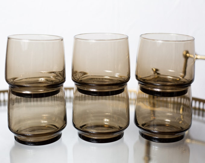 6 Brown Tumblers - 10oz Vintage Drinking Glasses - Retro Barware Glassware - Mad Men Bohemian Stackable Glasses