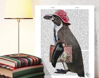 Penguin with Hat & Bag  - Penguin art penguin décor penguin nursery art penguin illustration modern Nursery Art for Kid Room Décor cute art