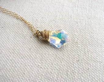Crystal Focal Necklace Wire Wrapped Jewel Clear Gen Baroque Crystal Prismatic Gold Filled Wire Wrapped Jewel Minimalist Modern Fresh Bridal