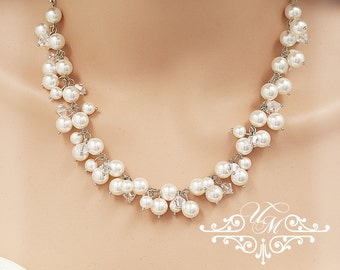 Wedding Jewelry Messy style Swarovski Pearl Swarovski Crystal Necklace Bridal Necklace Bridal Necklace Bridesmaids Necklace - GRACE