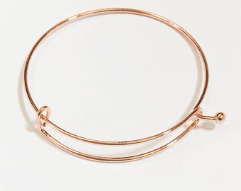 4 pcs Adjustable wire bangle, Rose gold plated steel bangle, bulk wire bangle 65mm