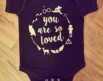 You Are So Loved - Harry Potter onesie - Harry Potter - baby onesie - nerdy onesie - wizard shirt - witch shirt - nerdy bodysuit - Rowling