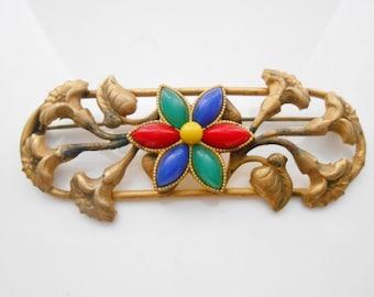 Art Nouveau Brooch Trumpet Flowers Glass Beads