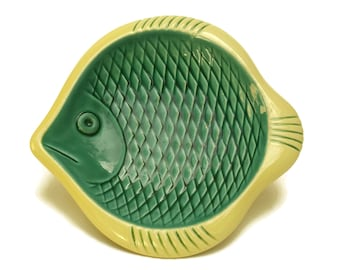 Fish Plate Coin Dish. Mid Century Modern Ceramic by Verceram. Bathroom and Coastal Decor and Gifts.
