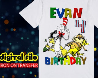 Iron On Transfer Dr Seuss Birthday Shirt, Dr Seuss Iron On Transfer, Dr Seuss Birthday Boy Iron On Transfer, Personalize