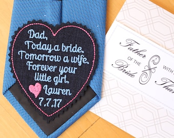 Father of the bride gift, black wedding tie patch, gift box included, forever your little girl, heart tie label