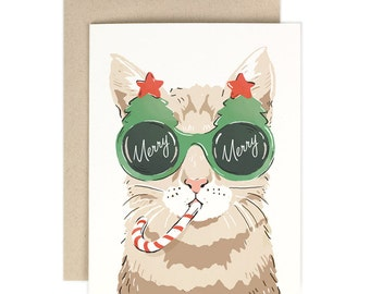 Merry Merry Cat- Holiday Card