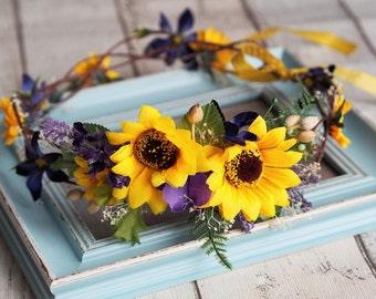 Flower Headpiece, Bridal Flower Crown, Hair Wreath, Yellow Flower Hair Accessory, Sunflower Wedding,Woodland Wedding Crown,Rustic Head Piece