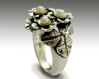 Flowers ring, Pearls ring, two tones ring, Sterling silver ring, silver yellow gold ring, floral ring, woodland ring - With you - R1689G