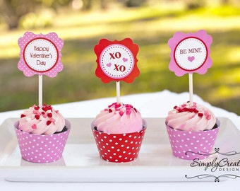 Valentine Cupcake Toppers Valentine's Day Tags DIGITAL File 8.5  x 11 JPEG File