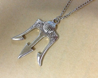 antique Silver trident Necklace Poseidon Weapons inspired ancient greek mythology jewelry halloween gift C76N_S